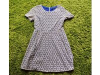 Oasis blue and white stencil dress - Size 16 - Good conditon