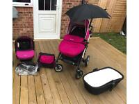 Silver cross pioneer pram pushchair pink rasberry travel system