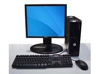 """FULL DELL COMPUTER SET UP WINDOWS 7 + 17"""" LCD MONITOR, KEYBOARD, MOUSE & CABLES"""