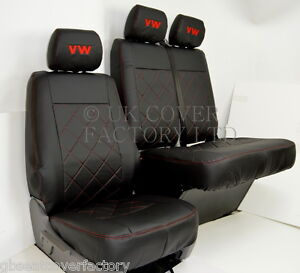 VW TRANSPORTER T5 VAN SEAT COVERS BLACK BENTLEY STITCH