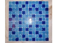 MONTAGE BLUE GLASS MOSAIC TILE SHEETS. THREE SHADES OF BLUE. 298MM X 298MM.