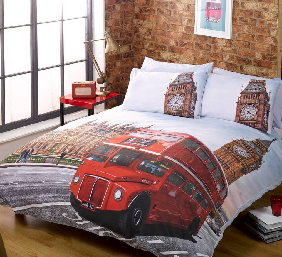 Classic British London Bus / Big Ben Duvet Quilt Cover Bedding Set & Pillowcases
