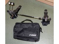 SONOR DOUBLE BASS DRUM PEDALS & linkage quality set DP 492 In soft case