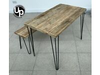 Reclaimed Wood dining table with Bench with hairpin legs