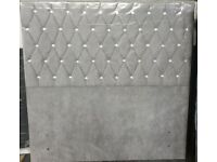 Chesterfield Headboard Double Plush Silver