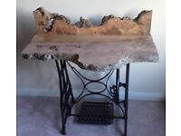 industrial singer matching with burr elm desk / table