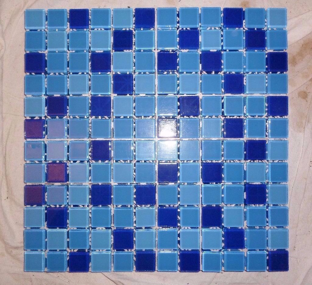 MONTAGE BLUE GLASS MOSAIC TILE SHEETS. THREE SHADES OF BLUE. 298MM X ...
