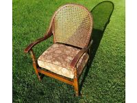 Vintage 1940s wicker-back chair