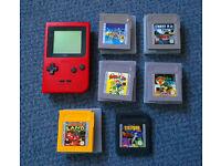 Nintendo Gameboy Pocket RED with 6 super games inc. Mario, Yoshi, Donkey Kong & Choplifter III