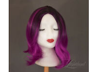 Short magenta&black wig, high quality synthetic hair