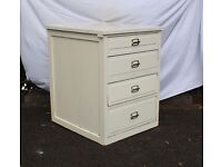 Vintage Retro Shabby Chic Chest of Drawers / Mini Plan Chest - Solid Oak - 4 x drawers