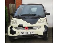 2003 SMART FOR TWO CABRIO IN STUNNING COW PRINT, VERY LOW MILEAGE FOR YEAR NEW MOT, £30 TAX,