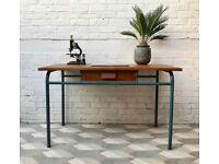 Vintage Wooden Desk With Drawer #507