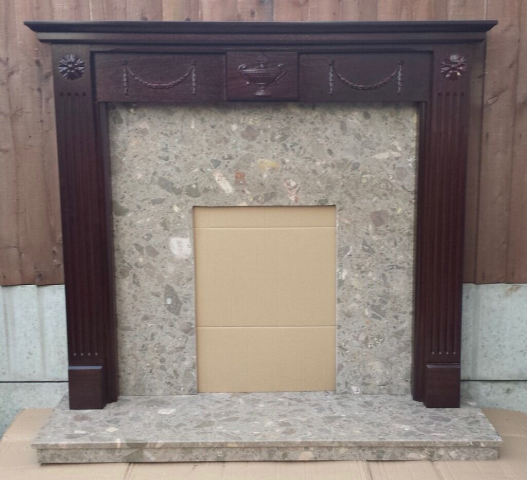 """48"""" Fireplace Mahogany Veneered Mantle c/w Marble Back and Hearth"""