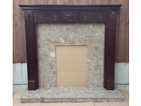 "48"" Fireplace Mahogany Veneered Mantle c/w Marble Back and Hearth"