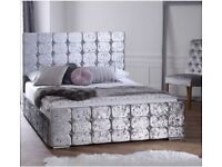 ☀️☀️BEAUTIFUL DESIGN☀️☀️.NEW DOUBLE CRUSHED VELVET CHESTERFIELD BED WITH WIDE RANGE OF MATTRESS