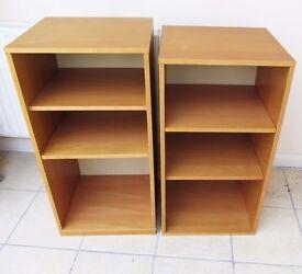 Double set of shelving units.