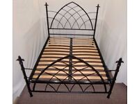 DOUBLE SIZE GOTHIC IRON METAL BLACK BED FRAME