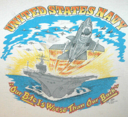 Vtg U.S NAVY T SHIRT Rare Tee AIRCRAFT CARRIER Jet Fighter UNITED STATES USA