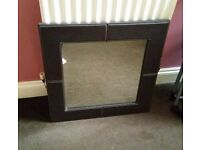 Faux Leather Square Mirror