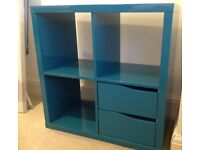 Ikea cube storage cabinet in turquoise