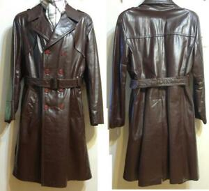 MENS 42 SEARS CANADA Slim Fit Large Vintage 70s Mint Leather Trench Coat Long Jacket Raincoat Cowhide Brown Quilted Wool