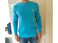 Men's blue cable knit Ralph Lauren Polo jumper Size M