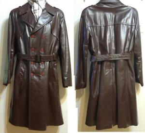 MENS 42 SEARS CANADA Slim Fit L Vintage 70s Mint Leather Trench Coat Long Jacket Cowhide Rare