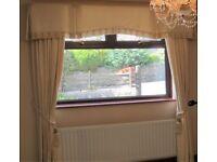"Cream Brocade Curtains, boxed Pelmet and Tie Backs Window 6'9"", length 7'"