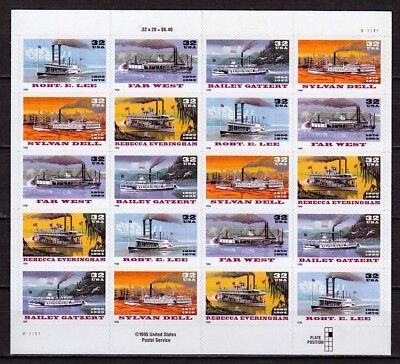 US 1996 Sc#3095a: RIVER BOATS - 32¢ - MINI SHEET OF 20 - MINT, AT FACE