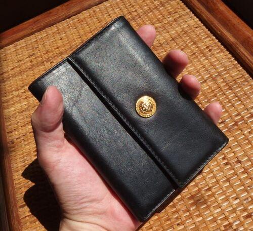 Vintage GIANNI VERSACE Medusa Head Black Leather Wallet Unisex Italy Purse