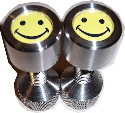 Two Hole Pins. 12 To 1-18 Knurled Small Aluminum Smily Face. By Jermamma.