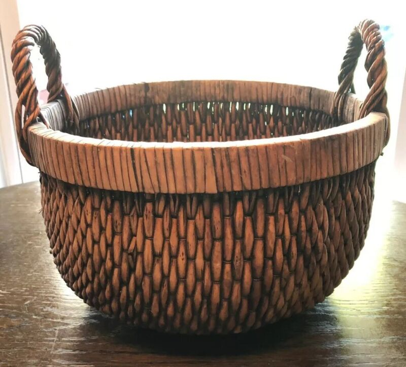 Rare Antique Asian Woven Reed Basket With Double Handles