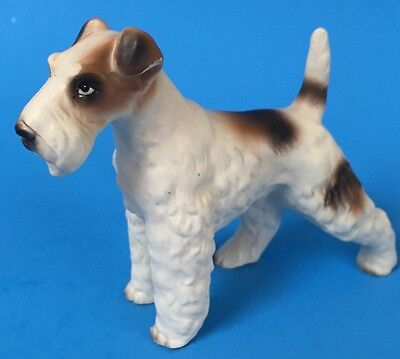 White Hair Fox Terrier 3.5in Ceramic Standing Dog Figurine Vtg Matte Figure