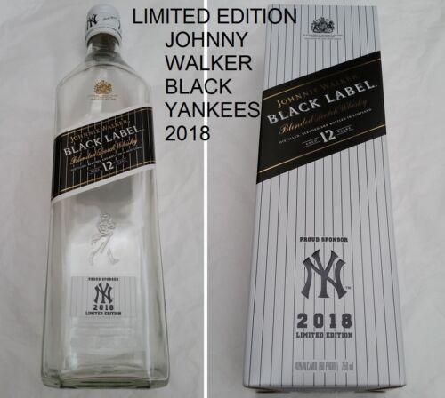 Johnnie Walker 2018 New York Yankees Black Label EMPTY Box & Bottle mint Limited