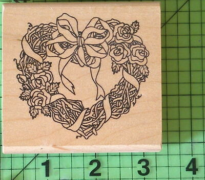 Woven Twig Heart Shaped Wreath Roses Bow H-373 Rubber Stamp By Imagine That  - $8.95