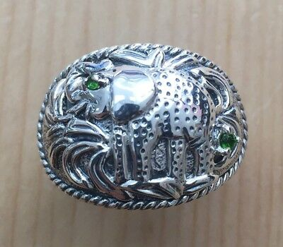 (GENUINE PERIDOT STONE STERLING SILVER ELEPHANT RING #7)