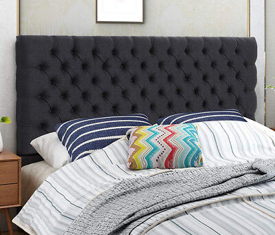 Fabric Headboards Beds (Fabric Headboard Queen Black Diamond Button Tufted Steel Frame Bed Upholstered )