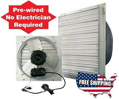 24 Industrial Exhaust Shutter Fan 2 Speed 5850 Cfm Barn Wall Fan Garage Shop In