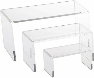 3 Small Clear Acrylic Jewelry Display Risers Showcase Fixtures Bakery