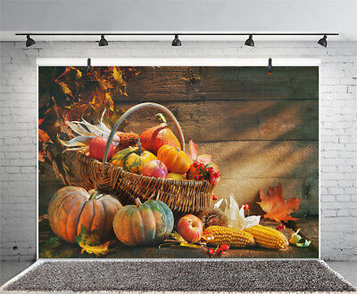 Thanksgiving Photo Props (Thanksgiving Pumpkins Photo Backdrop 10x6.5ft Background Photography Props)