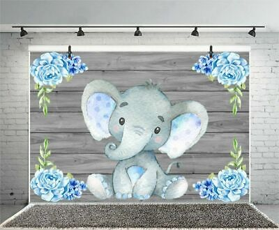 5x3ft Backdrop Baby Shower Decorations For Boy Elephant Theme Supplies Blue