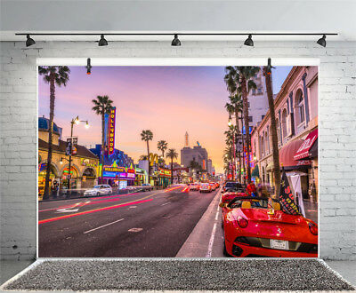 7x5ft Street Scene Hollywood Sign Backdrops Studio Photography Props Background - Hollywood Sign Backdrop