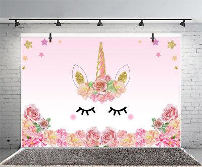 Vinyl Photography 7x5ft Cute Unicorn Eyes Flower Background Party Photo Backdrop (Unicorn Flowers)