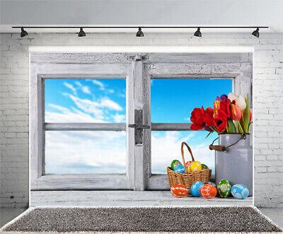 7x5ft Background Easter Color Eggs Window Backdrop Studio Photography Prop Show](Easter Backdrops)