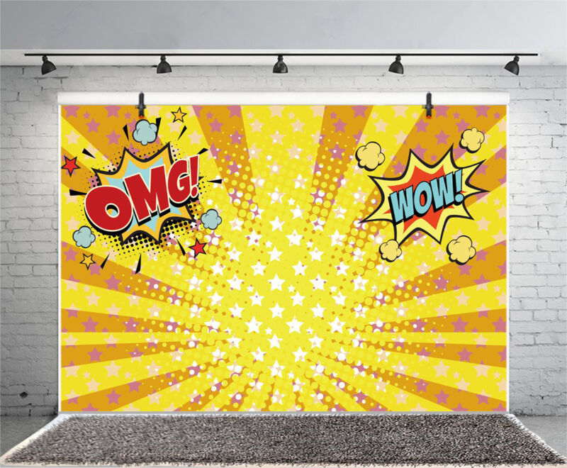 Yellow Orange Rays Pop Art Photo Backdrop 10x6.5ft Background Photography Props