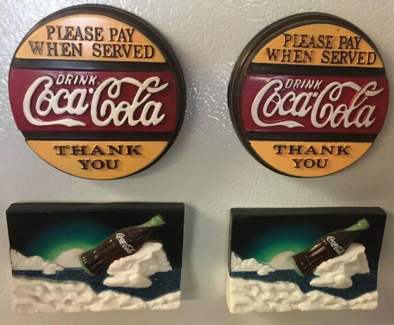 Vintage Coca-Cola Fridge Magnet Lot of 4