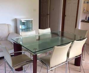 Glass table and leather chairs Strathfield Strathfield Area Preview