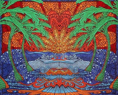 3D Epic Tropical Palm Tree Ocean Wave Surf Tapestry Beach Sheet Table Cloth ](Beach Table Cloth)