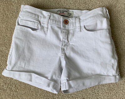 Abercrombie Kids Youth Girls denim jean shorts Midi Size 9/10 EUC White